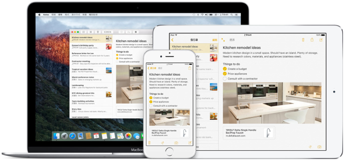 Mac、iPad 和 iPhone 享有相同的備忘錄
