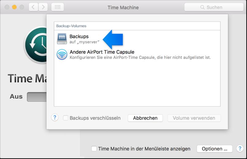"""Bildschirmfoto der Systemeinstellung """"Time Machine"""" mit der Liste der verfügbaren Volumes"""