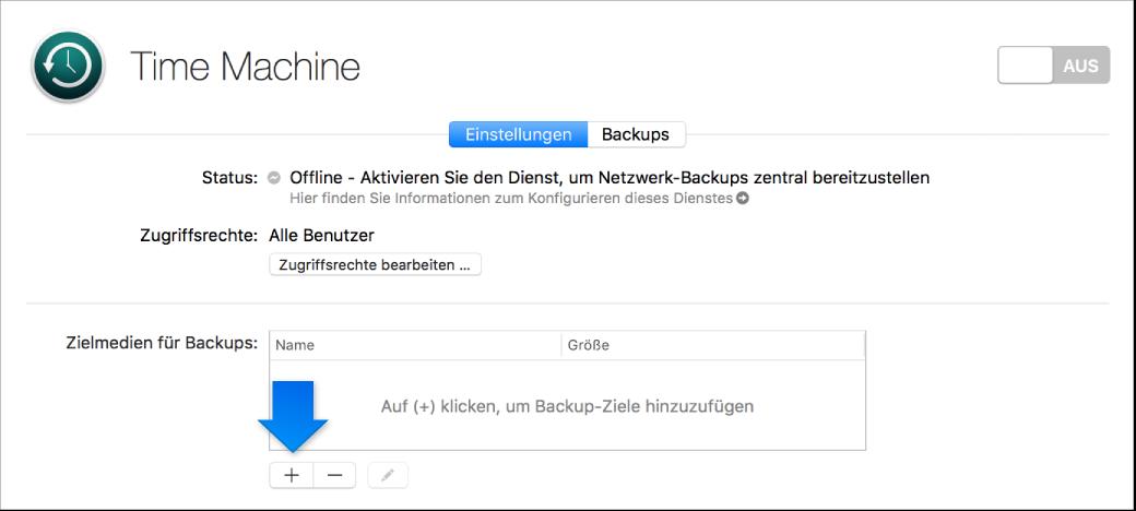 """Bildschirmfoto des Bereichs """"Time Machine"""" der Server-App vor dem Konfigurieren"""
