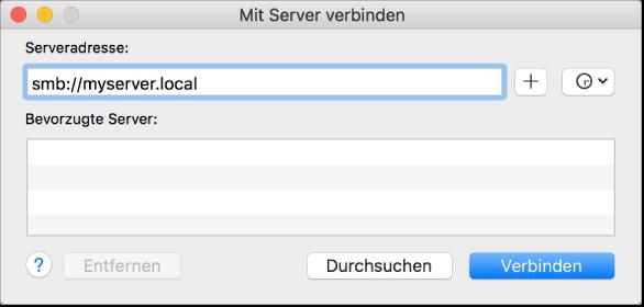 Abbildung des Fensters zum Herstellen der Verbindung zu einer Dateifreigabe