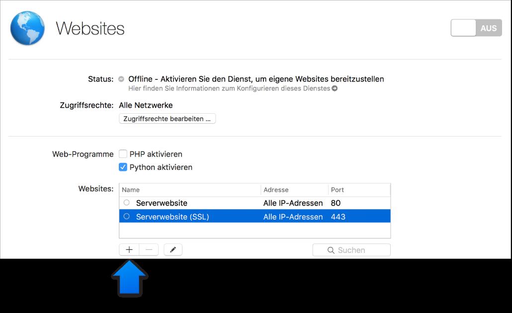 """Pfeil, der auf die Taste """"Websites hinzufügen"""" zeigt"""