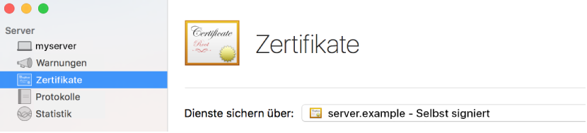 Im Server ausgewählte Zertifikate