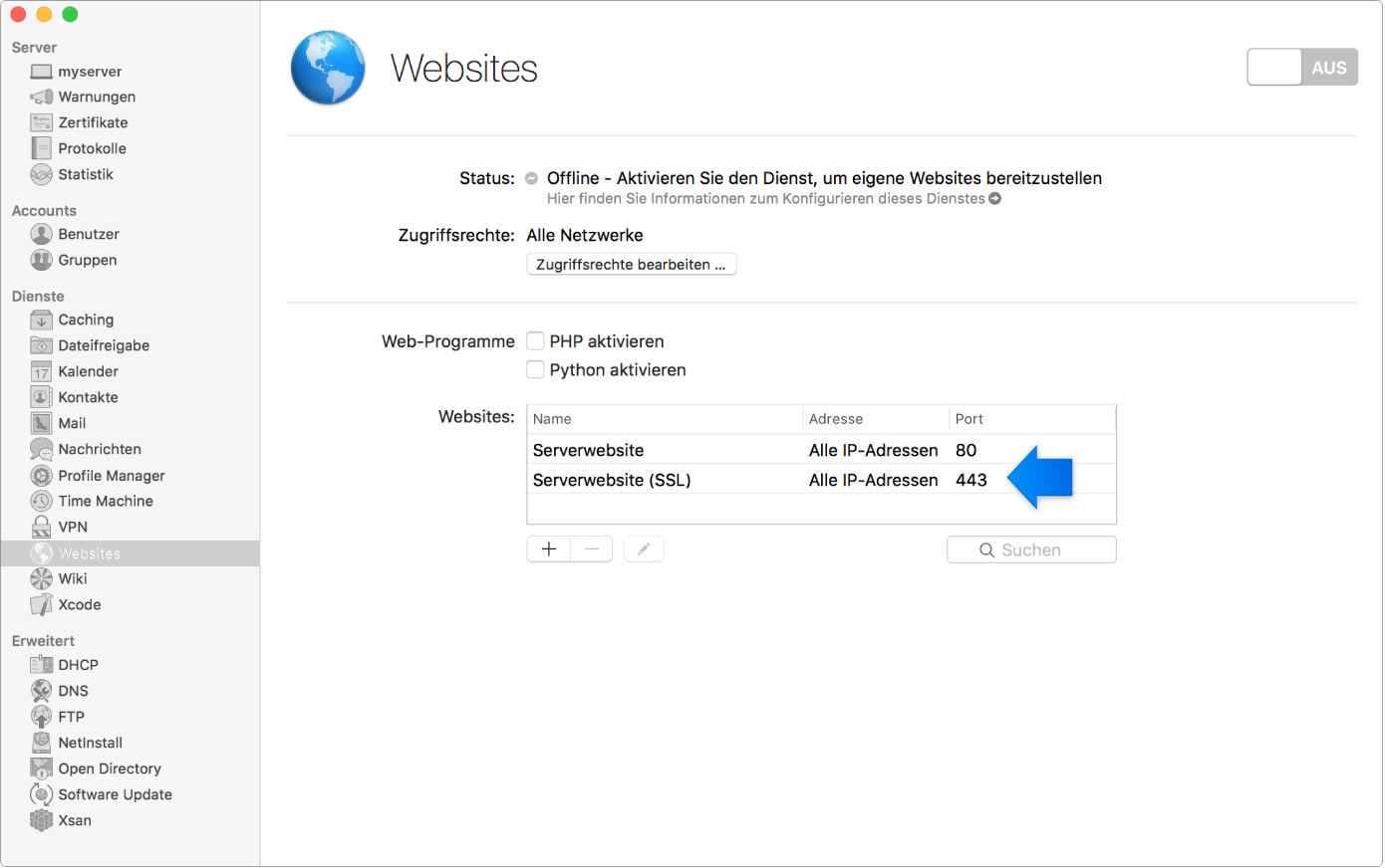 SSL-Standardwebsite ausgewählt
