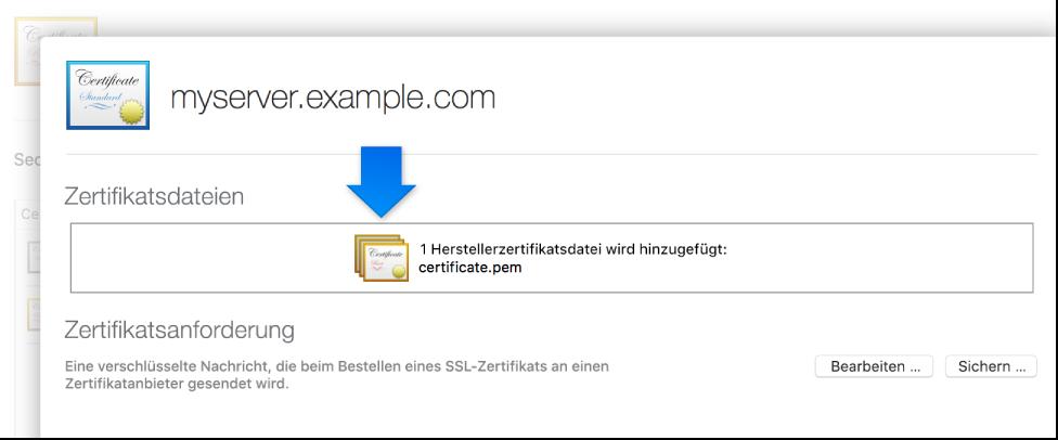 Zertifikat angewendet