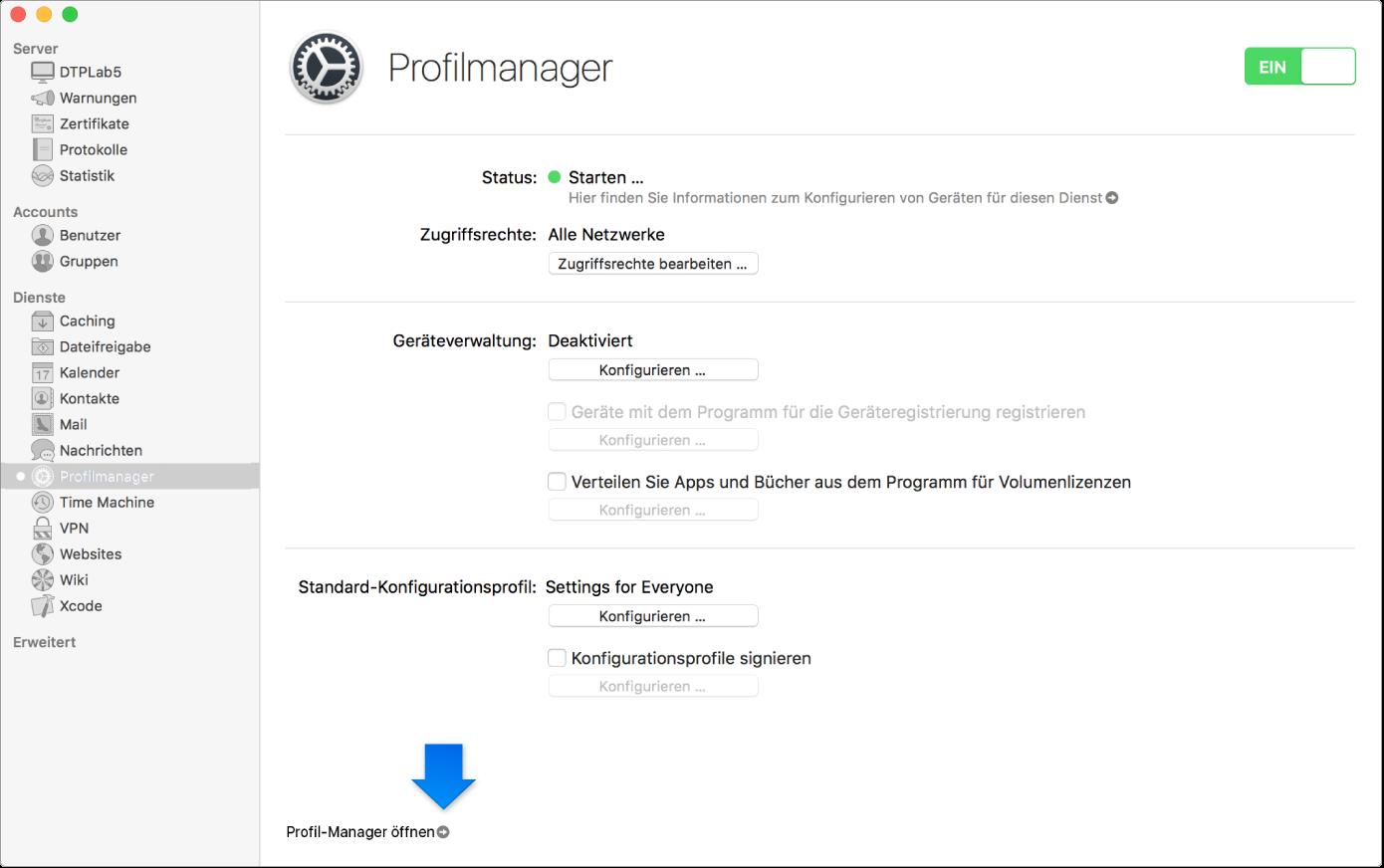 """Pfeil, der auf den Link zur Web-App """"Profilmanager"""" zeigt"""