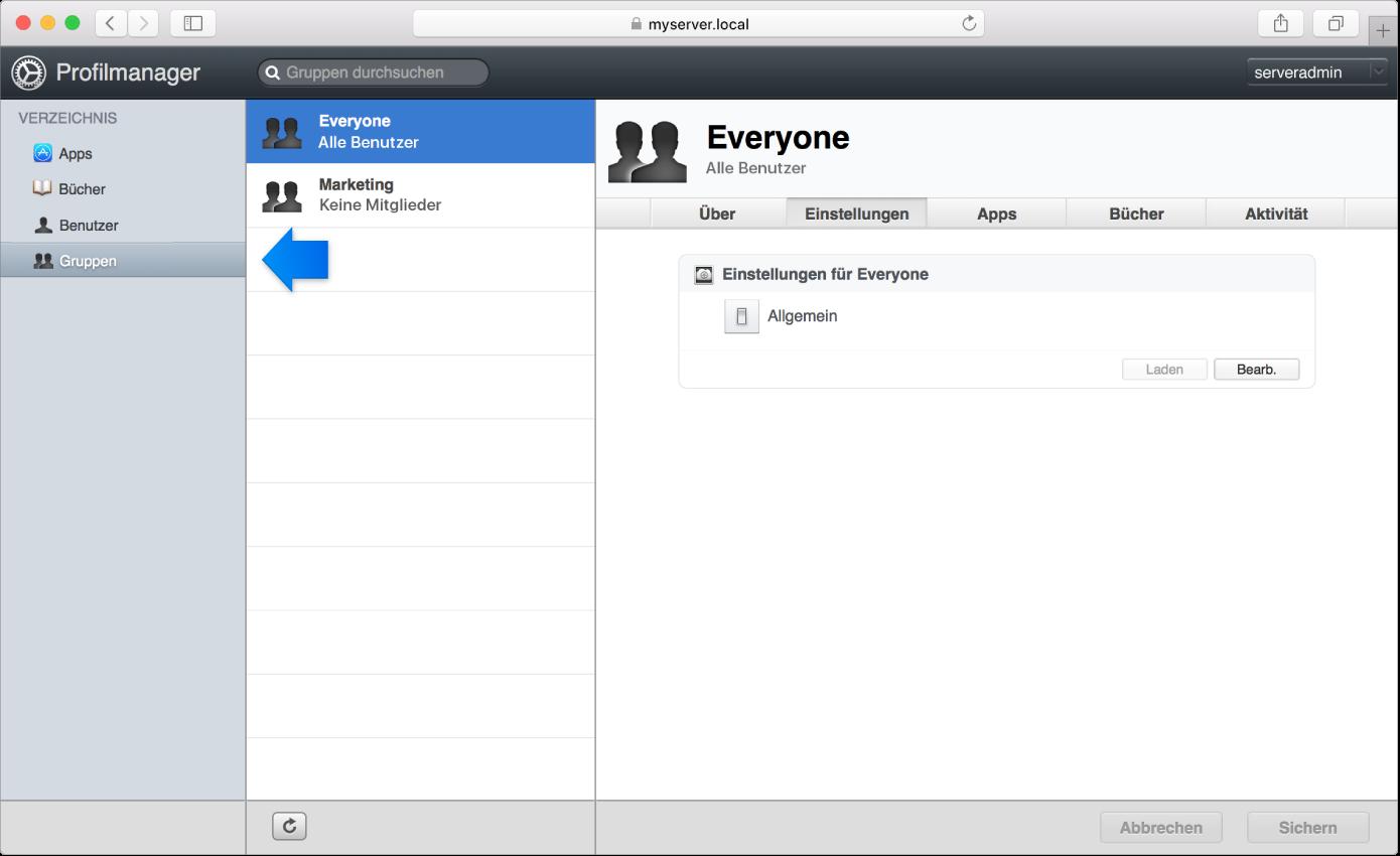 Profilmanager-Gruppen gekennzeichnet