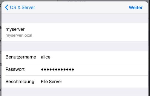 WebDAV-Anmeldung iOS