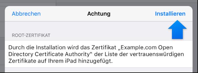 Installationsdialog iOS-Profil
