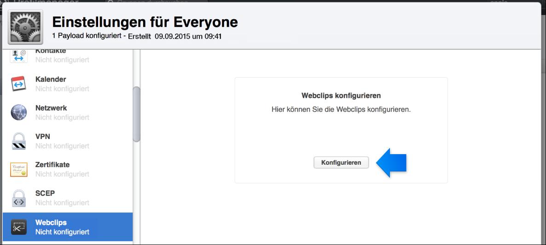 """Pfeil, der auf die Konfigurationstaste """"Webclips"""" zeigt"""