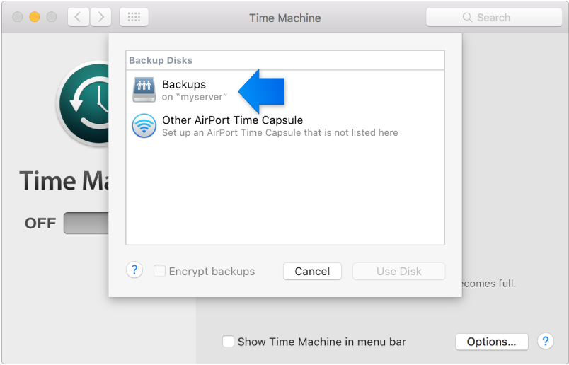 A screen shot of the Time Machine System Preference pane, open to the available disk list.