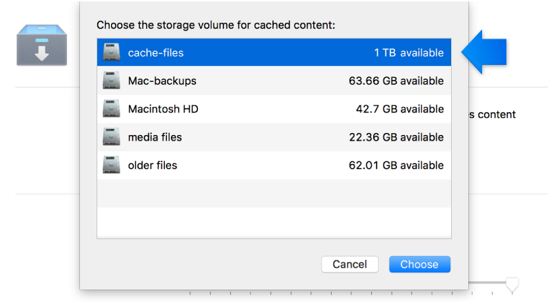 Screen shot of Caching service settings