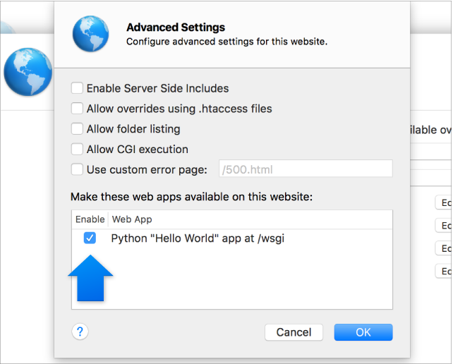 Arrow indicating enabled web app