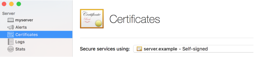 Certificates selected in Server