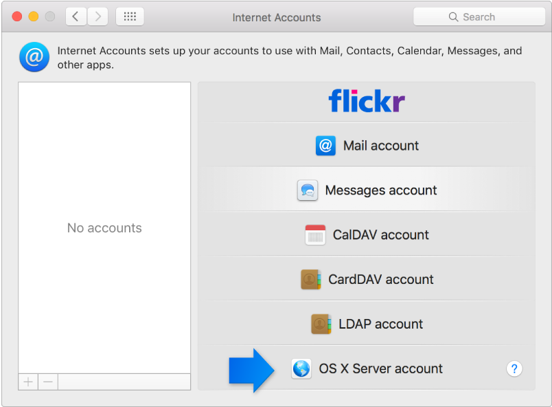 arrow indicating OS X Server account in Internet Accounts pane