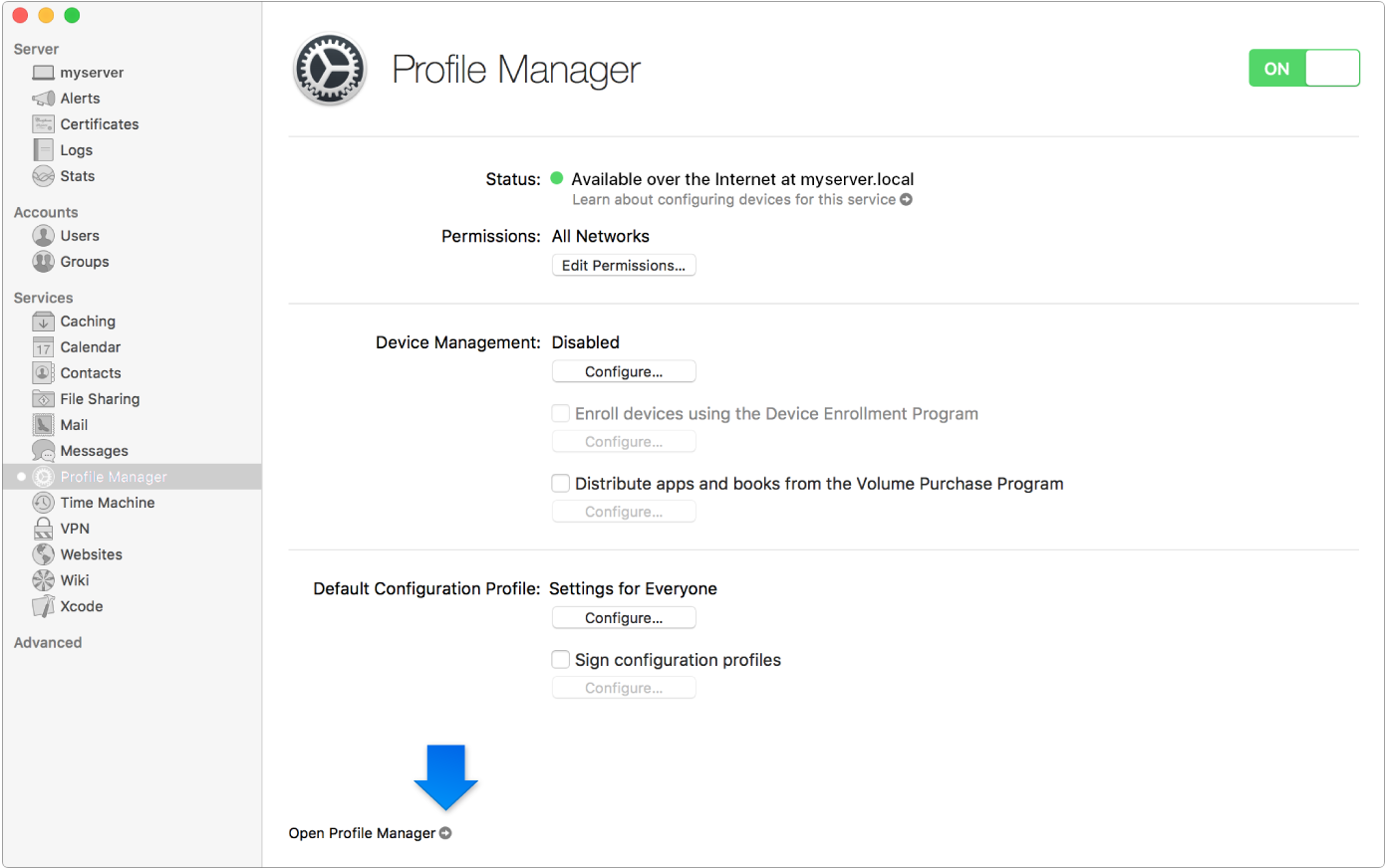 Arrow indicating link to Profile Manager web app