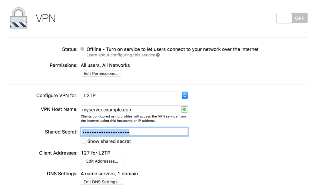 VPN with settings
