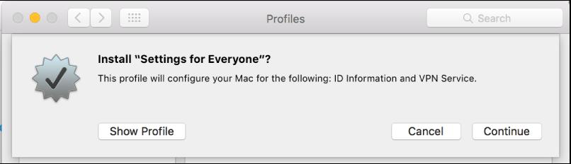 Profile installation confirmation