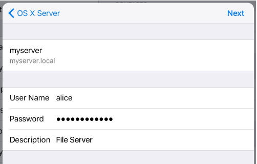 iOS WebDAV sign in