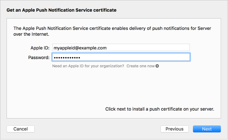 Push notification service sheet