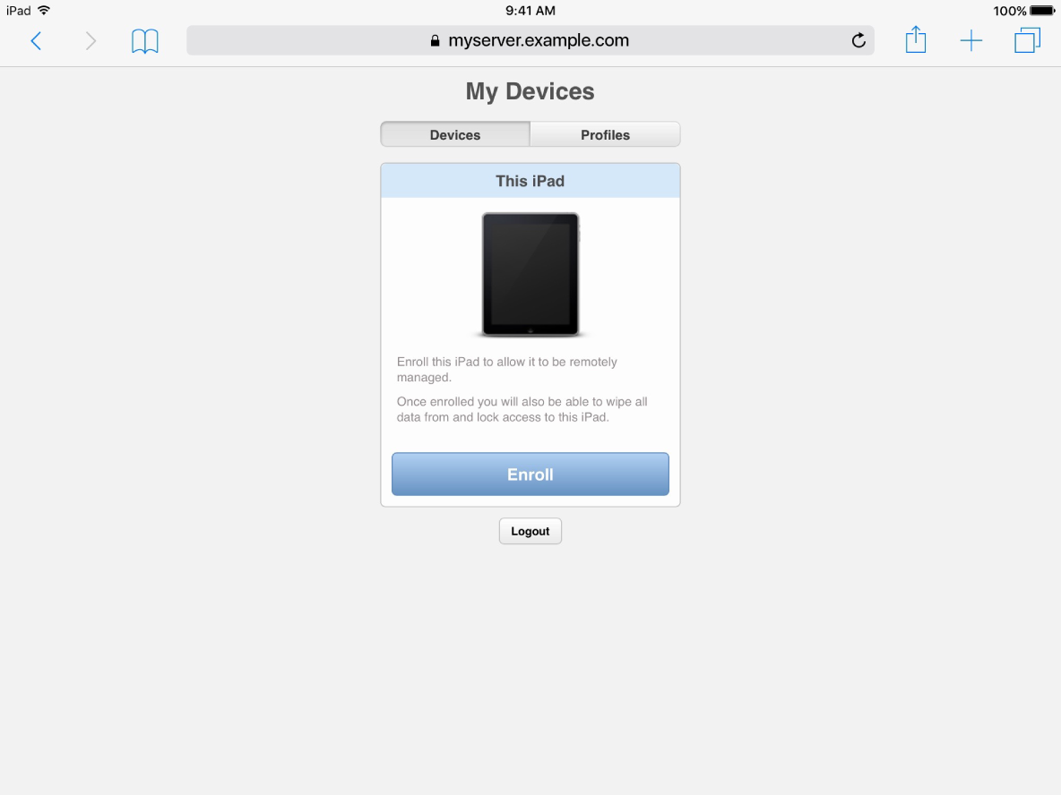 iOS screenshot of My Devices enrollment page