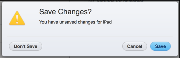 Save changes confirmation dialog