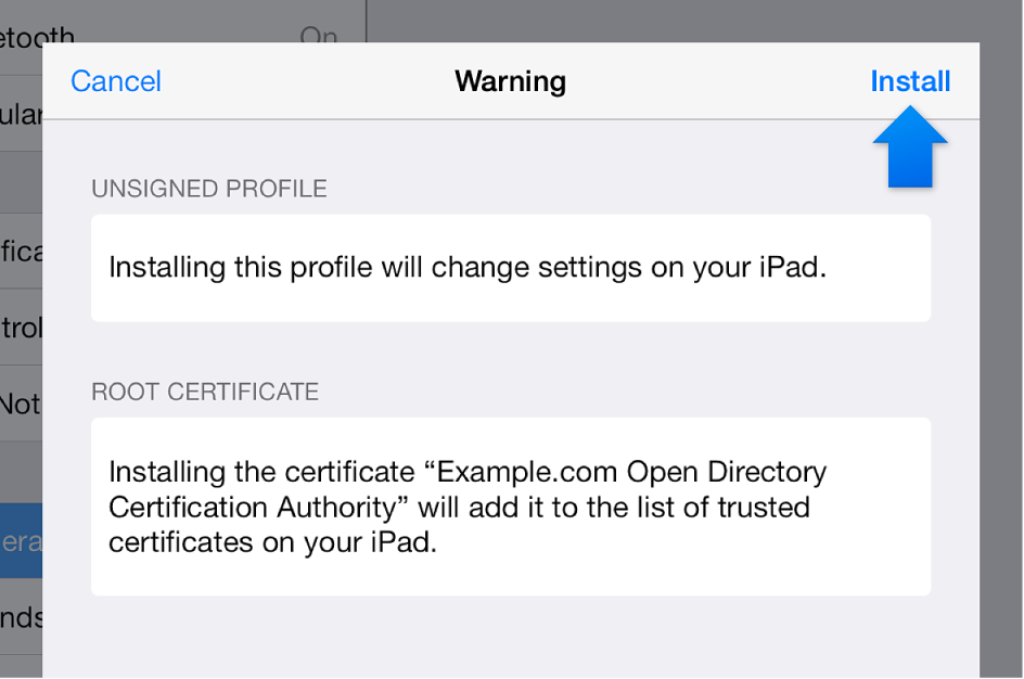 iOS profile install dialog