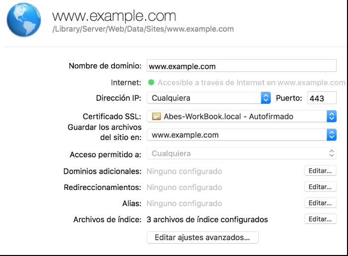 Hoja de configuración del sitio web