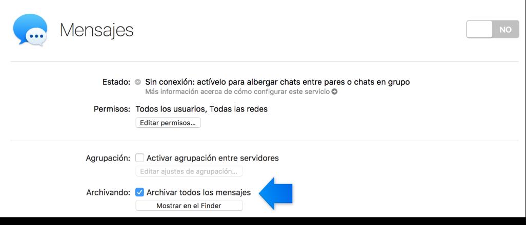 Flecha que indica la opción de archivado de Mensajes