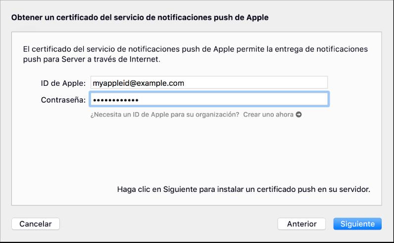 Hoja del servicio de notificaciones push