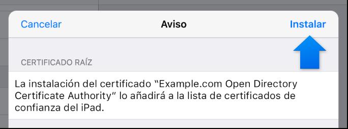 Cuadro de diálogo de instalación del perfil de iOS
