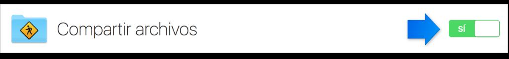 Botón de activación del servicio de compartir archivos