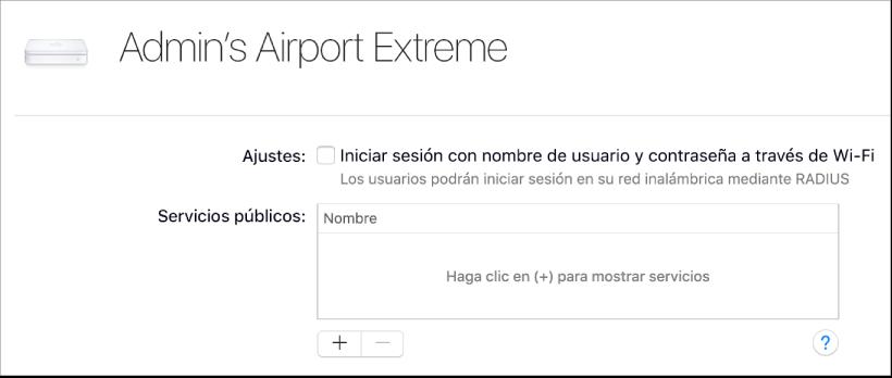 Estación base AirPort seleccionada
