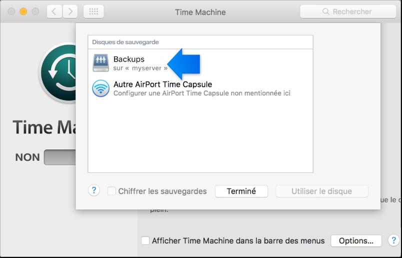 Une capture d'écran de la sous-fenêtre des préférences Système de TimeMachine, ouverte sur la liste des disques disponibles.