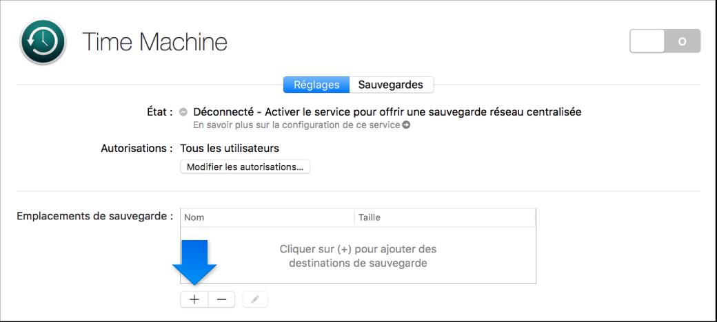 Une capture d'écran de la sous-fenêtre TimeMachine de l'application Server, non configurée.