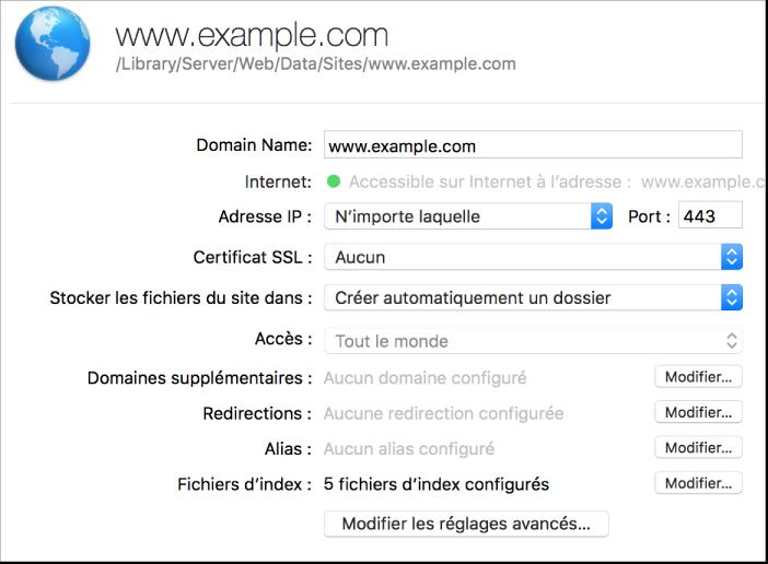Feuille de configuration de site web