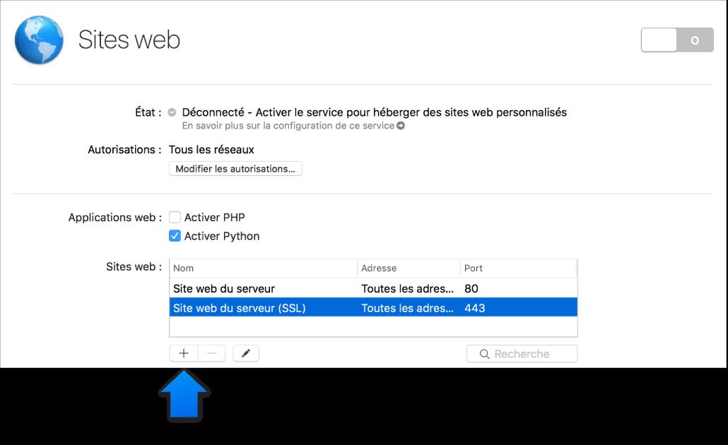 Flèche indiquant le bouton d'ajout de sites web
