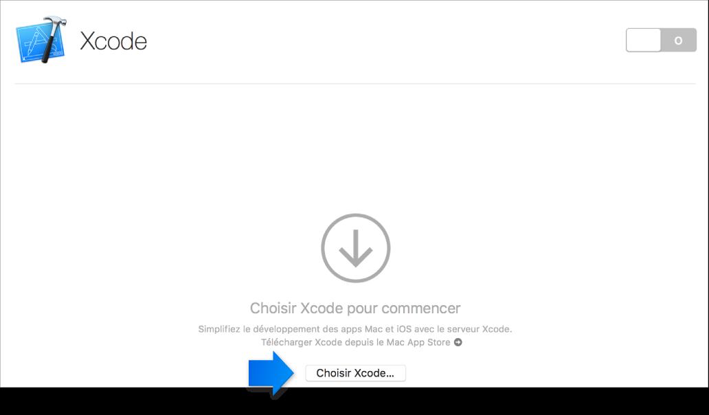 Flèche indiquant le bouton Choisir Xcode