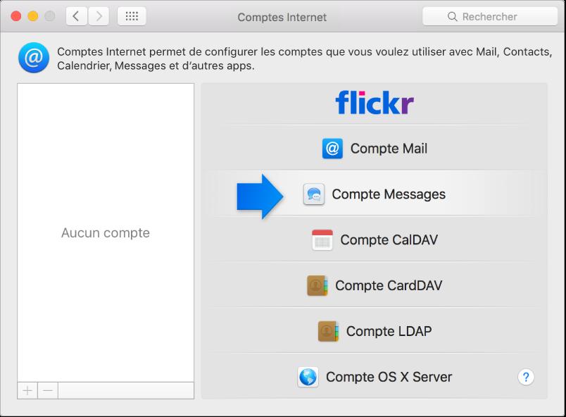 Flèche indiquant un compte Messages dans la sous-fenêtre Comptes Internet