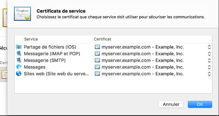 Feuille de sélection de certificat