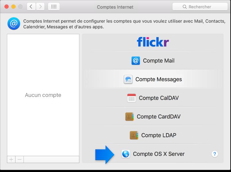 flèche indiquant un compte OSXServer dans la sous-fenêtre Comptes Internet