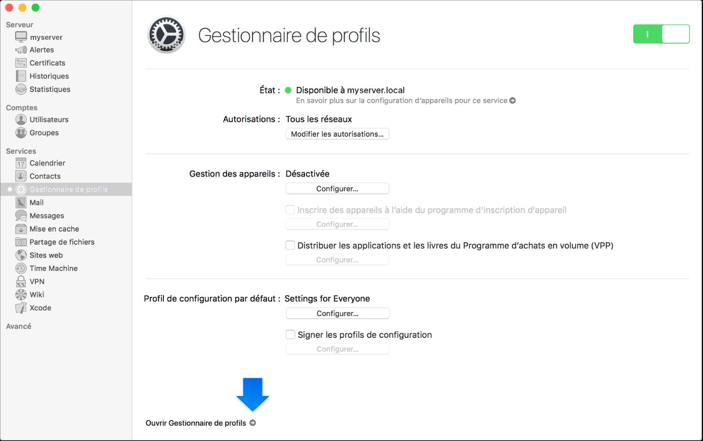 Flèche indiquant le lien vers l'app web Gestionnaire de profils