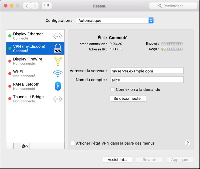 Sous-fenêtre Préférences réseau avec l'option VPN sélectionnée