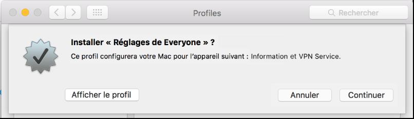 Confirmation de l'installation du profil