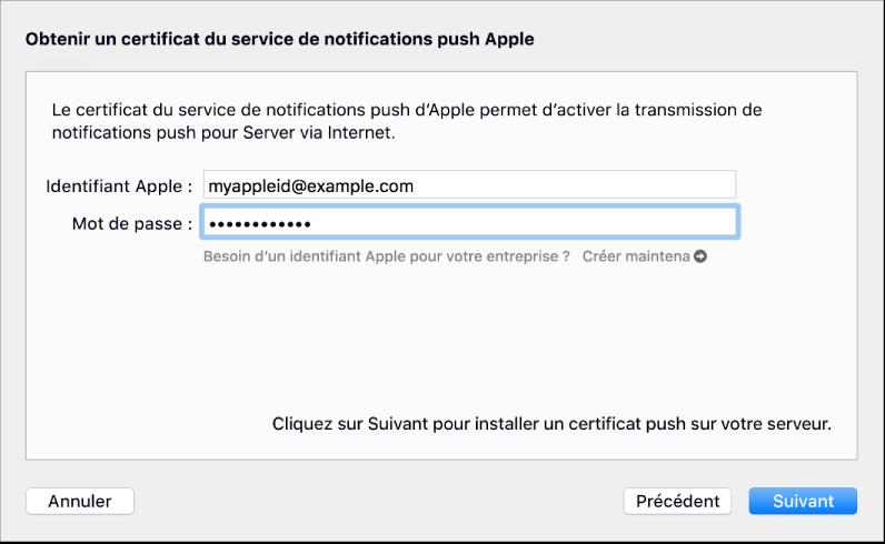 Feuille de service de notifications Push