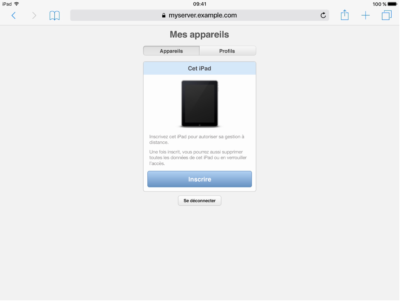 Capture d'écran iOS de la page d'inscription Mes appareils