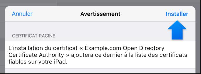 Zone de dialogue d'installation d'un profil sur un appareil iOS