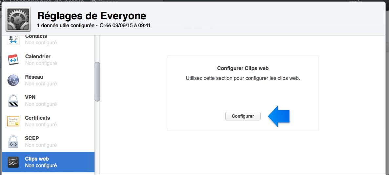 Flèche indiquant le bouton de configuration de clips web