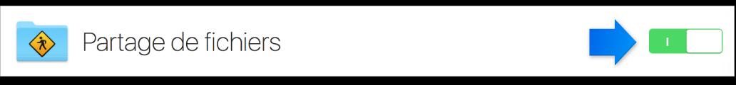 Commutateur d'activation du service de partage de fichiers