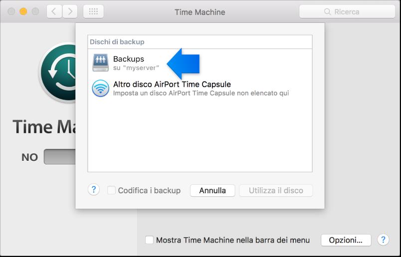 Un'istantanea del pannello Time Machine delle Preferenze di Sistema, aperto sull'elenco dei dischi disponibili.