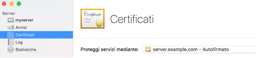 Certificati selezionati in Server.